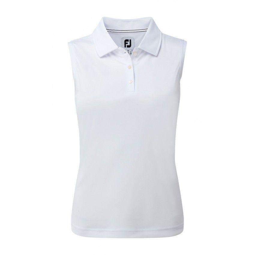 FootJoy Polo Interlock Sleeveless - koszulka golfowa - biała-Koszulka golfowa polo damskaInterlock Sleeveless marki FootJoy-FootJoy-Golfhelp - Sklep golfowy w Warszawie  i Rajszewie