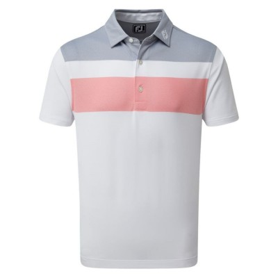 FootJoy Double Block Birdseye Pique Polo -  koszulka golfowa - szaro-różowo-biała