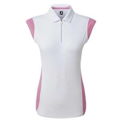 FootJoy WMNS Micro Interlock Princess Seam half Cap Sleeve - bluzka golfowa - biała