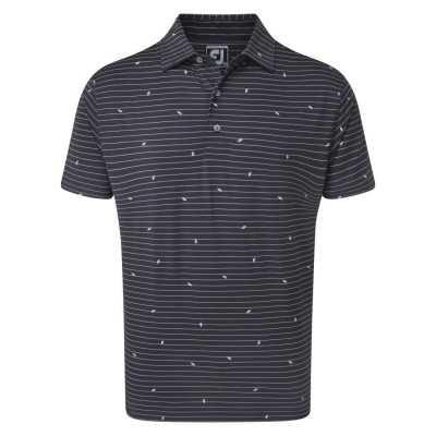 FootJoy Lisle Stripe Leaf Print Polo - bluzka golfowa - granatowa