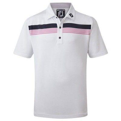 FootJoy JR Stretch Pique Chestband Polo - koszulka golfowa - biało-granatowa