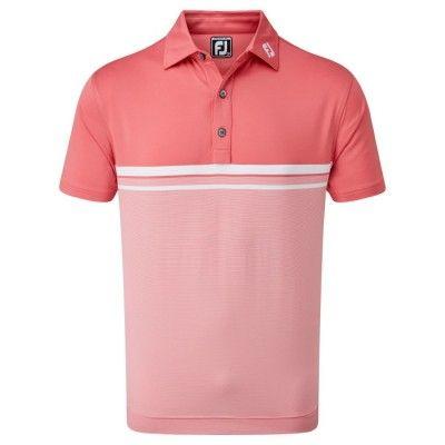 FootJoy Lisle Engineered End on End Stripe - koszulka golfowa - różowo-biała