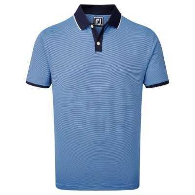 FootJoy Pique Ministripe - koszulka golfowa - niebieska