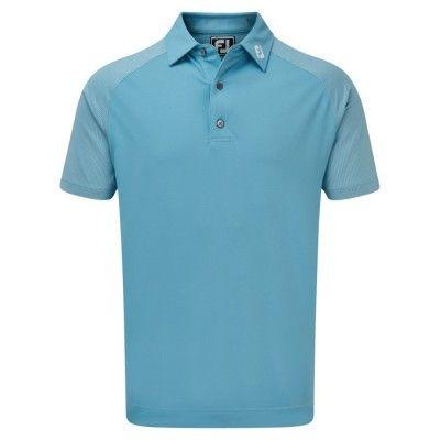 FootJoy Raglan Jacquard Block - koszulka golfowa - niebieska