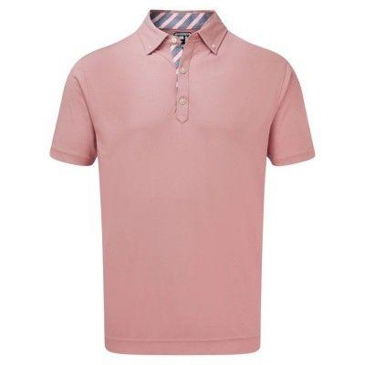 FootJoy Birdseye Jacquard with Stripe Trim - koszulka golfowa - różowa