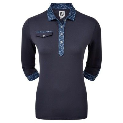FootJoy-Womens-34-Sleeve-Pique-with-Printed-Trim-koszulka-golfowa-granatowa_golfhelp