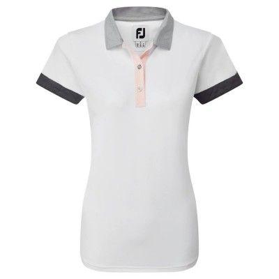FootJoy Women's Blocked Pique - koszulka golfowa - biała