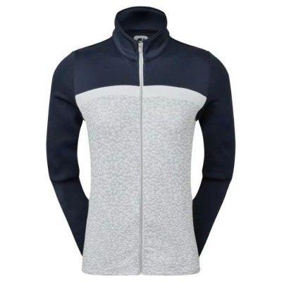 FootJoy Women's Full-Zip Curved Colour Block Midlayer - bluza golfowa - granatowo-szara