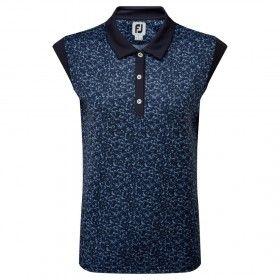 FootJoy Women's Cap Sleeve Print Interlock - koszulka golfowa - granatowa