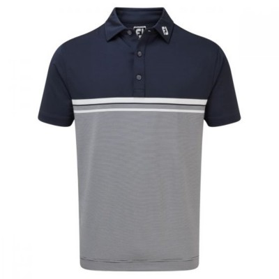 FootJoy Lisle Engineered End on End - koszulka golfowa - granatowa